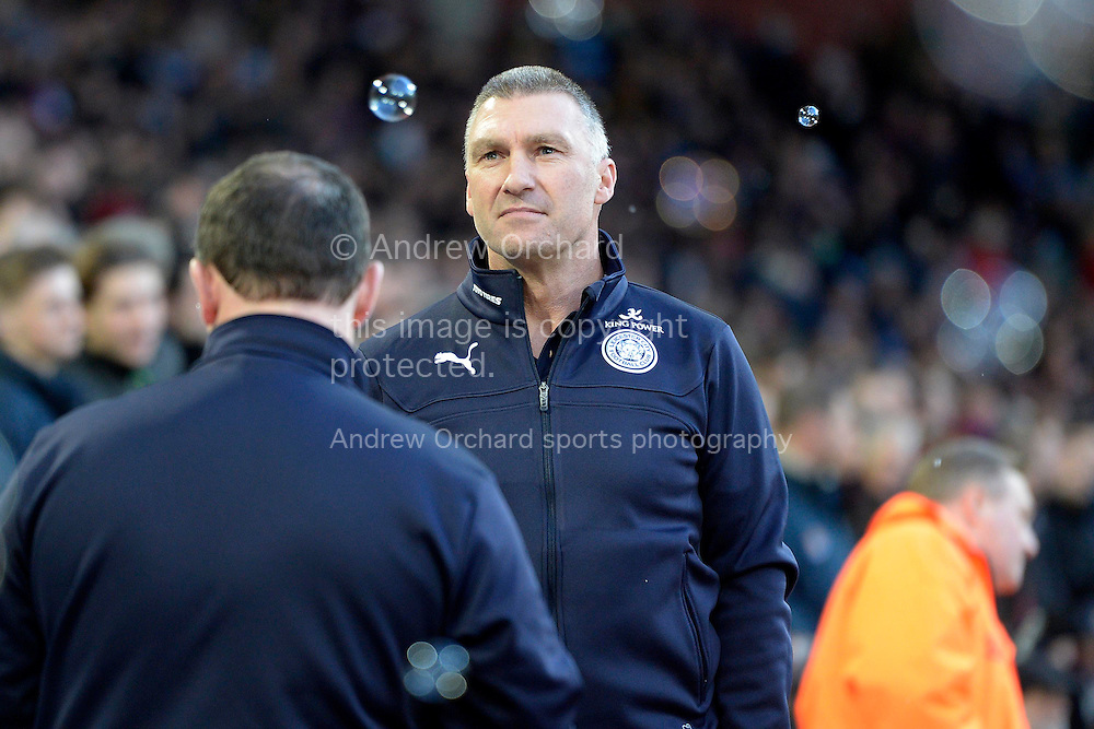 Leicester City manager Nigel Pearson approaching the dugout before k/o. Barclays Premier league match, West Ham Utd v Leicester city at the Boleyn ground, Upton Park in London on Sat 20th December 2014.<br /> pic by John Patrick Fletcher, Andrew Orchard sports photography.