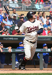May 2, 2018 - Minneapolis, MN, U.S. - MINNEAPOLIS, MN - MAY 02: Minnesota Twins Outfield Robbie Grossman (36) hits a fly ball during a MLB game between the Minnesota Twins and Toronto Blue Jays on May 2, 2018 at Target Field in Minneapolis, MN.The Twins defeated the Blue Jays 4-0.(Photo by Nick Wosika/Icon Sportswire) (Credit Image: © Nick Wosika/Icon SMI via ZUMA Press)