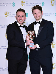 Alex Lockwood and Oliver Walton with their Best Short Film Bafta for 73 Cows in the press room at the 72nd British Academy Film Awards held at the Royal Albert Hall, Kensington Gore, Kensington, London.