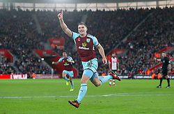 Burnley's Sam Vokes celebrates scoring his side's second goal of the game during the Premier League match at St Mary's Stadium, Southampton.