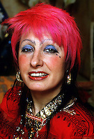 British fashion designer Zandra Rhodes seen at her home in London, 1985. Photographed by Jayne Fincher
