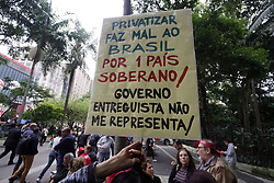 March 22, 2019 - SãO Paulo, São Paulo, Brazil - São Paulo (SP), 22/03/2019 - BRAZIL-PENSIONS-PROTEST- Trade union members and social activists demonstrate against Brazilian President Jair Bolsonaro's proposal to reform the social security system in Sao Paulo, Brazil, on March 22, 2019. (Credit Image: © Cris Faga/ZUMA Wire)