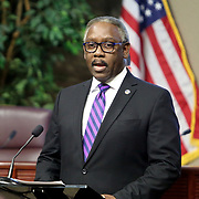 Orange County Mayor Jerry L. Demings speaks during a press conference about the spreading Coronavirus (Covid-19) hotspots in Orange County at the Orange County Administration Center on Friday, April 3, 2020 in Orlando, Florida. (Alex Menendez via AP)