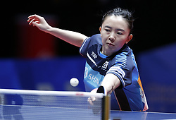 HALMSTAD, May 4, 2018  Jeon Jihee of the combined team of the Democratic People's Republic of Korea (DPRK) and South Korea returns to Ito Mima of Japan during their women's semifinal match at 2018 World Team Table Tennis Championships in Halmstad, Sweden, May 4, 2018. Jeon Jihee lost with 0-3 and the combined team of the Democratic People's Republic of Korea (DPRK) and South Korea lost the match 0-3. (Credit Image: © Ye Pingfan/Xinhua via ZUMA Wire)