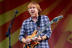 26 April 2014. New Orleans, Louisiana.<br /> Trey Anastasio of Phish plays the New Orleans Jazz and Heritage Festival. <br /> Photo; Charlie Varley/varleypix.com