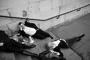 GREGOR MUIR; LADY MYNERS, INTERCOURSE: Re-enacting Eisenstein: The Odessa Steps Sequence from Battleship Potemkin<br /> Jane and Louise Wilson directed the re-enactment on the steps outside the ICA. 26 November 2011.