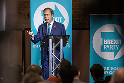 © Licensed to London News Pictures. 01/11/2019. London, UK. Nigel Farage speaks at Emmanuel Centre in Westminster at a Brexit Party event about the general election campaign. Photo credit: Rob Pinney/LNP