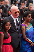 Claudine Vinasitamby, director Jacques Audiard, Kalieaswari Srinivasan, at the gala screening for the film Dheepan at the 68th Cannes Film Festival, Thursday May 21st 2015, Cannes, France.