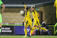 Oxford United's Marcus Browne(10) scores a goal 0-3 and celebrates during the The FA Cup 1st round replay match between Forest Green Rovers and Oxford United at the New Lawn, Forest Green, United Kingdom on 20 November 2018.
