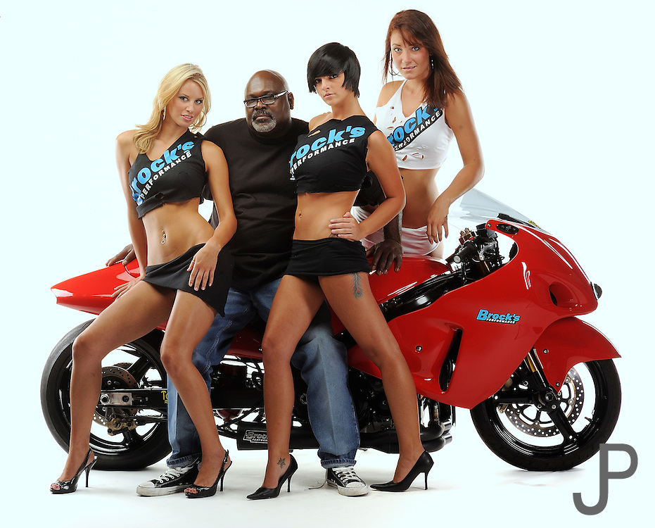 "Tommy Bolton with ""Tommy's Angels"" drag racing Suzuki Hayabusa in studio"