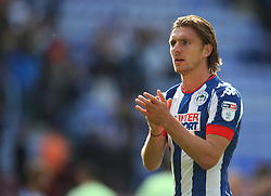 Alex Gilbey of Wigan Athletic applauds the fans at the final whistle - Mandatory by-line: Jack Phillips/JMP - 13/08/2016 - FOOTBALL - DW Stadium - Wigan, England - Wigan Athletic v Blackburn Rovers - EFL Sky Bet Championship