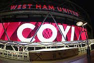 a general view ahead of tonight's game as a Graphic displays  'COYI '  (Come on you irons) is lit up outside the London Stadium . Premier league match, West Ham Utd v Manchester city at the London Stadium, Queen Elizabeth Olympic Park in London on Wednesday 1st February 2017.<br /> pic by John Patrick Fletcher, Andrew Orchard sports photography.