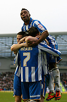 Football - FA Cup 3rd Round  - Brighton and Hove Albion vs Newcastle United<br /> Brighton's Wil Hoskins gets congratulated by Brighton's Kazenga LuaLua after he scored Brightons second goal at The American Express Community Stadium
