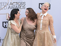 January 27, 2019 - Los Angeles, California, U.S - (L-R) Rebekka Johnson, Rachel Bloom, and Kimmy Gatewood at the red carpet of the 25th Annual Screen Actors Guild Awards held at  the Shrine Auditorium in Los Angeles, California, Sunday January 27, 2019. JAVIER  ROJAS/PI (Credit Image: © Prensa Internacional via ZUMA Wire)