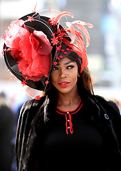 Lystra Adams arrives for the Grand National Day of the 2018 Randox Health Grand National Festival at Aintree Racecourse, Liverpool.