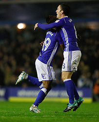 Birmingham City's Jacques Maghoma celebrates his goal with Craig Gardner during the Sky Bet Championship match at St Andrew's, Birmingham.