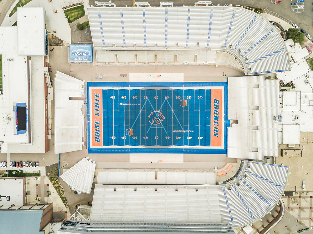 BOISE, IDAHO / USA - 7 April 2017 : Aerial view of Albertsons stadium in Boise.