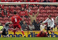 Photo. Jed Wee.<br /> Middlesbrough v Southampton, FA Barclaycard Premiership, The Riverside, Middlesbrough. 12/04/2004.<br /> Middlesbrough's Szilard Nemeth profits from some chaos caused by team mate Massimo Maccarone to score Middlesbrough's second goal.