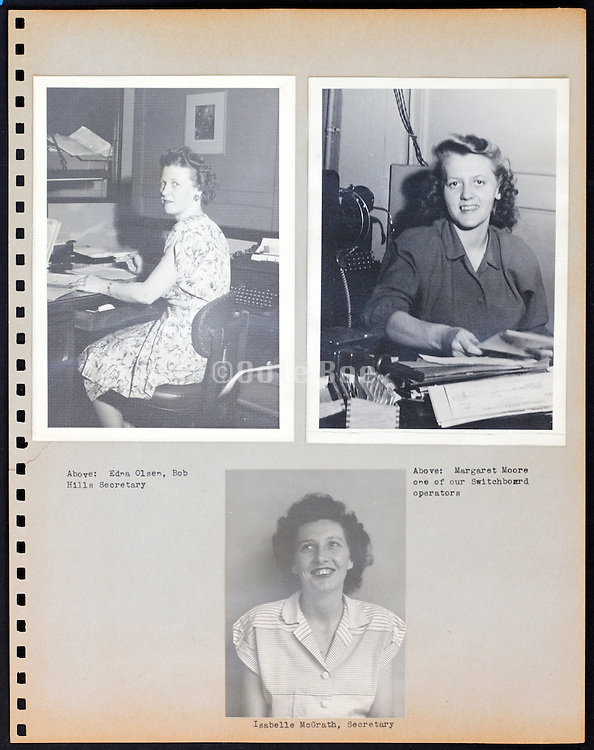 page from a photo album with secretary office workers portraits USA 1945