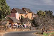 Houses on a road to the capital Antananarivo, Madagascar