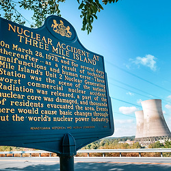 The historic marker at Three Mile Island Nuclear Plant at the Susquehanna River near Middletown, Pennsylvania.