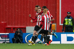 Brentford's Lewis Macleod celebrates scoring his side's first goal of the match