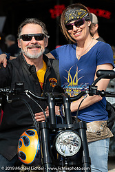 Commercial pilot Andrea Labarbara and Bob Zeolla at the Perewitz Paint Show at the Broken Spoke Saloon during Daytona Beach Bike Week, FL. USA. Wednesday, March 13, 2019. Photography ©2019 Michael Lichter.