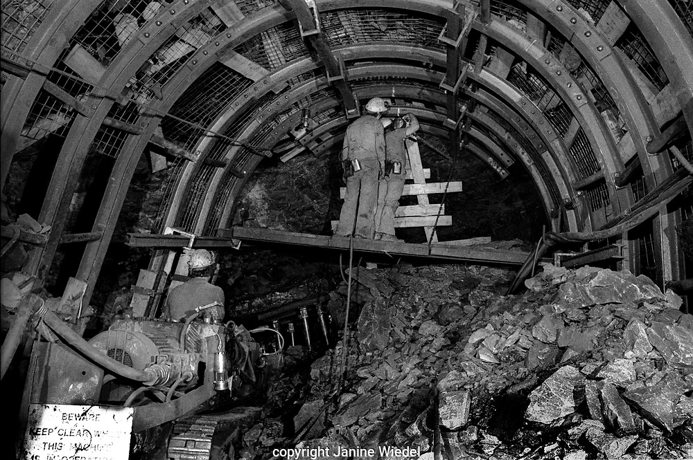 Drilling at the face Littleton Colliery Staffordshire. 1970's