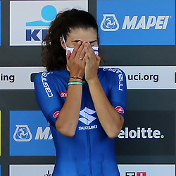 """LEUVEN (BEL): CYCLING: September 25th<br /> Elisa Balsamo took home the rainbow jersey in Leuven on Saturday. After nearly 160 kilometers of racing, the Italian won the World cycling championships in Leuven ahead of Marianne Vos. Afterwards, Balsamo was also speechless and in tears: """"I have no words for this. This feeling is beyond description."""""""