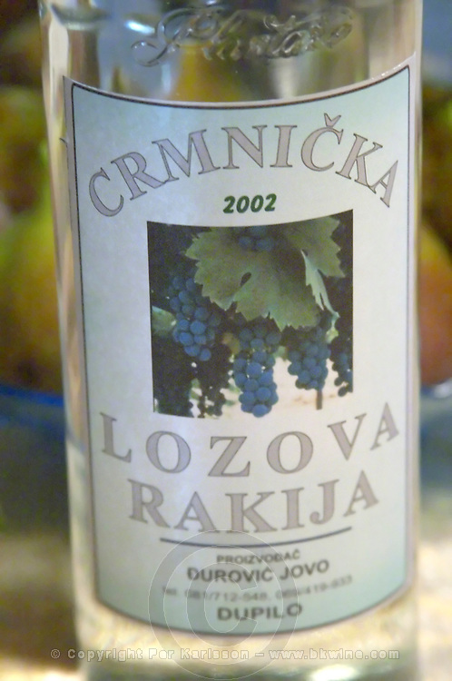 Bottle of Crmnicka Lozova Rakija grappa type of spirit Durovic Jovo Winery, Dupilo village, wine region south of Podgorica. Vukovici Durovic Jovo Winery near Dupilo. Montenegro, Balkan, Europe.