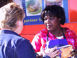 While promoting the McCaine ROSTI by demonstrating a few of her own recipies Rusty Lee, takes time to meet fans and sign autographs during her visit to Asda at Handsworth in Sheffield on Tuesday morning Oct 11 2001