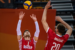 Tsimafei Zhukouski of Croatia in action during the CEV Eurovolley 2021 Qualifiers between Sweden and Croatia at Topsporthall Omnisport on May 15, 2021 in Apeldoorn, Netherlands