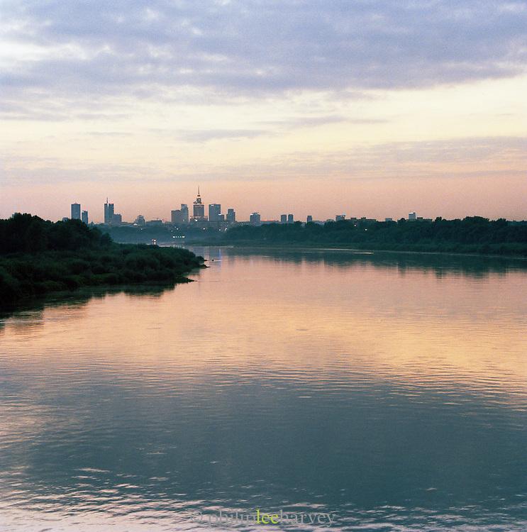 The Vistula River and Warsaw at dusk, Poland