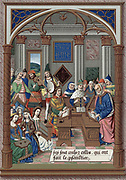 King Rene and his musical court. Rene (1409-80) Duke of Anjou and Lorraine, King of Naples, Jerusalem and Sicily. Arab/European interface - see writing on back wall. After 15th century manuscript of 'Breviary' of King Rene. Chromolithograph