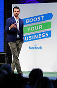 Facebook's director of small business Jonathan Czaja speaks to a sold-out crowd at Facebook's Boost Your Business Nashville event held at Marathon Music Works on Thursday, Aug. 27, 2015, in Nashville, Tenn. (Photo by Wade Payne/Invision for Facebook/AP Images)