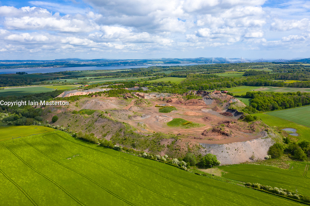 Aerial view of oil shale waste bing at Philpstoun in West Lothian, Scotland UK