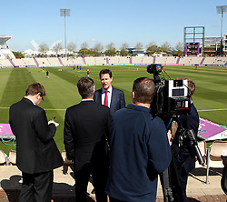 Liberal Democrat leader Nick Clegg is interviewed at The Ageas Bowl ahead of the General Election - Photo mandatory by-line: Robbie Stephenson/JMP - Mobile: 07966 386802 - 27/04/2015 - SPORT - Cricket - Southampton - The Ageas Bowl - Hampshire v Nottinghamshire - County Championship Division One