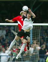 Photo: Chris Ratcliffe.<br />Southend United v Bristol City. Coca Cola League 1. 06/05/2006.<br />Louis Carey (L) of Bristol City goes up for a header with Freddie Eastwood of Southend United.