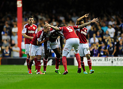 Bristol City's Jay Emmanuel-Thomas celebrates with his team mates after scoring.  - Photo mandatory by-line: Dougie Allward/JMP - Tel: Mobile: 07966 386802 04/09/2013 - SPORT - FOOTBALL -  Ashton Gate - Bristol - Bristol City V Bristol Rovers - Johnstone Paint Trophy - First Round - Bristol Derby