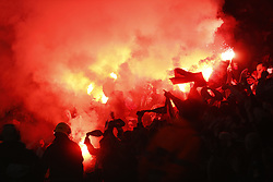 March 14, 2019 - London, England, United Kingdom - Flares .during Europa League Round of 16 2nd Leg  between Arsenal and Rennes at Emirates stadium , London, England on 14 Mar 2019. (Credit Image: © Action Foto Sport/NurPhoto via ZUMA Press)