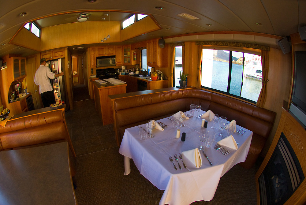 Interior of a 75 foot luxury-class houseboat, Lake Powell, Glen Canyon National Recreation Area, Arizona/Utah border USA