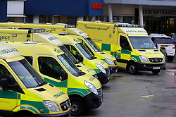 """Embargoed to 0001 Sunday November 04 File photo dated 04/01/18 of ambulances outside a hospital. According to figures there are over 2,500 addresses currently """"red flagged"""", meaning ambulance staff cannot enter without police presence."""