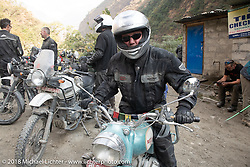 Jonathan Pite at the check point as we were leaving Tatopani on Day-7 of our Himalayan Heroes adventure riding from Tatopani to Pokhara, Nepal. Monday, November 12, 2018. Photography ©2018 Michael Lichter.