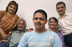 Three generations of family at home together,