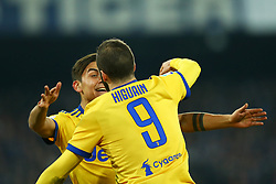 December 1, 2017 - Naples, Italy - Gonzalo Higuain and Paulo Dybala of Juventus celebration after scoring the goal of 0-1 during the Serie A match between SSC Napoli and Juventus at Stadio San Paolo on December 1, 2017 in Naples, Italy. (Credit Image: © Matteo Ciambelli/NurPhoto via ZUMA Press)