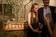 ISABELLA SOMERSET AND HER FATHER THE MARQUIS OF WORCESTER, Quintessentially  Summer arts party with Perier Jouet.  An evening of performance art. Phillips de Pury Gallery. London. 9 July 2008. *** Local Caption *** -DO NOT ARCHIVE-© Copyright Photograph by Dafydd Jones. 248 Clapham Rd. London SW9 0PZ. Tel 0207 820 0771. www.dafjones.com.