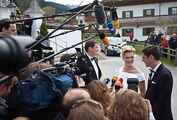 16.04.2011, Going am Wilden Kaiser, Tirol, AUT, kirchliche Trauung von Maria Riesch und Markus Höfl in der Pfarrkirche zum Hl. Kreuz, im Bild die Skirennfahrerin Maria Höfl-Riesch und ihr Ehemann Marcus Höfl geben Interviews // the german skieracer Maria Riesch-Hoefl and her husband Marcus Hoefl during church wedding at Church of the Holy Cross in Going, Austria on 16/4/2011. EXPA Pictures © 2011, PhotoCredit: EXPA/ J. Groder / SPORTIDA PHOTO AGENCY
