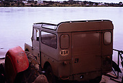 "Series I 86 inch Hard Top Land Rover with '""Safari Roof"", crossing Zambezi River, Zimbabwe Rhodesia, Southern Africa, 1960s"