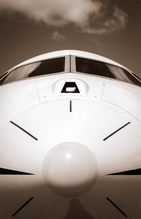 Nose radome of a Bombardier Global Express jet at Kalamazoo International Airport in Kalamazoo, Michigan.