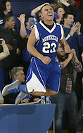 Monticello's Anthony Gray (23) celebrates after histeam defeated Wallkill in a Section 9 Class A tournament game in Wallkill on Monday, Feb. 28, 2011.